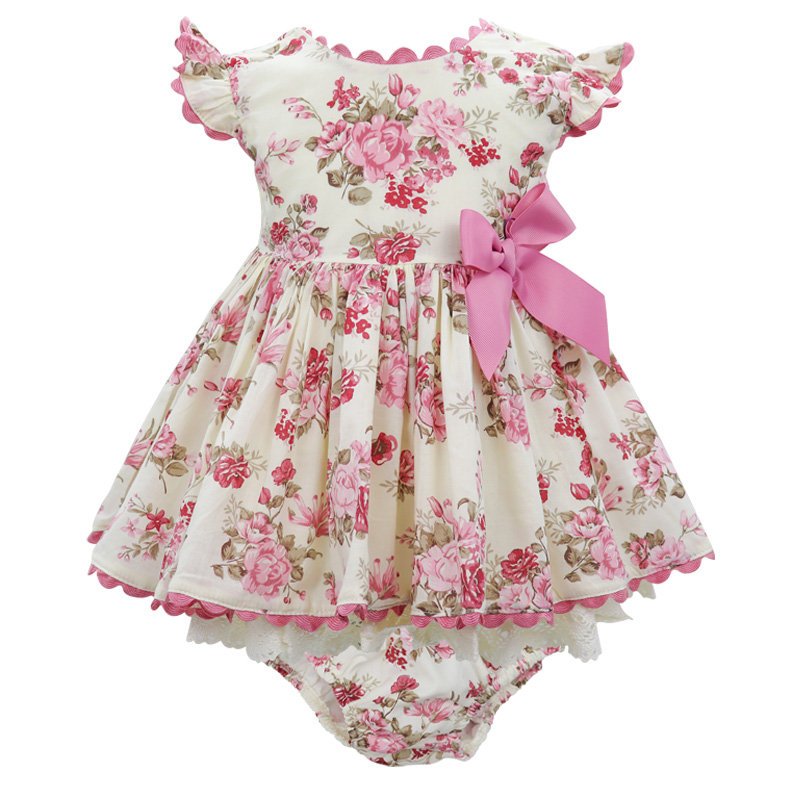 Kids Spanish Princess Dresses For Girls Baby Lolita Style Bow Cotton Retro Costume Teen Children Party Flower Lace Casuals Dress