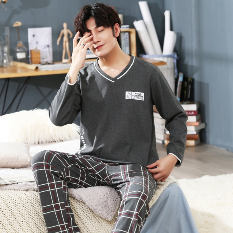 2020 Spring 100% Cotton Long Sleeve Pajama Sets For Men High Quality Sleepwear Suit Male V-neck Loungewear Homewear Home Clothes