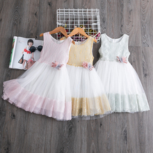 Girls Dress 2020 New Summer Brand Girls Clothes Lace And Flower Design Baby Girls Dress Kids Dresses For Girls Casual Wear 3 8 Y 2017 brand new girl dress winter kids clothes european and american style leaf pettern design for girls clothes 3 8y