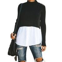 Пуловер вязаный свитер пэчворк длинный рукав кнопка женский джемпер 2019 осень зима сексуальный повседневный черный топ и блузка Одежда