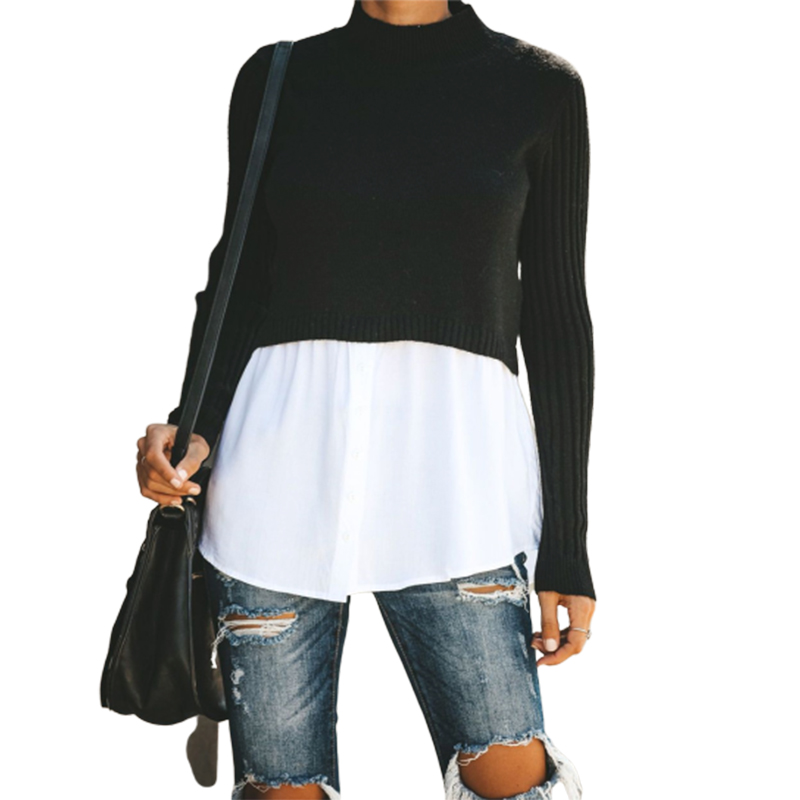 Pullover Knitted Sweater Patchwork Long Sleeve Button Women Jumper 2019 Autumn Winter Sexy Casual Black Tops And Blouse Clothing