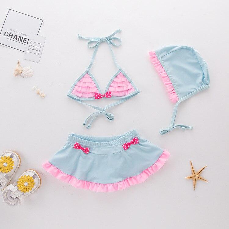 Girls' Two-piece Swimsuit Blue Bow Hua Bian Kuan KID'S Swimwear Hot Springs Clothing