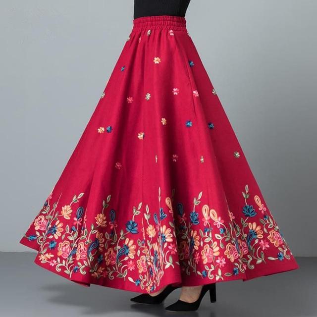 Mom elegant Embroidered Maxi pleated skirt Women Plus Size Winter Warm Woolen Long Skirt Lady High Waist Casual Wool Office saia 5