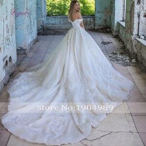 Image 2 - Julia Kui De baile con hombros descubiertos, vestido De novia con precioso encaje Vintage, vestido De novia De cola De corte