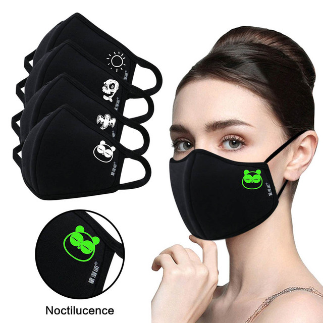 Luminous Funny Smile Expression Cotton Anti- Dust Mouth Face Mask For Mouth Black Kpop Unisex Face Mouth Muffle Mask Fashion New