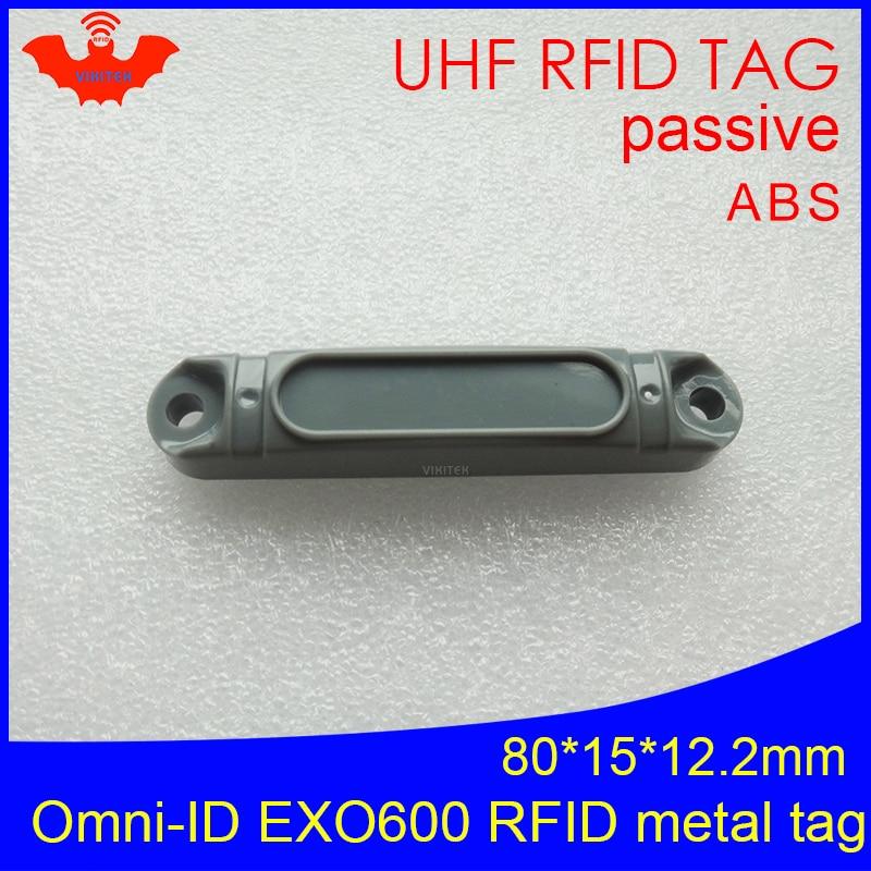 UHF RFID Anti-metal Tag Omni-ID EXO 600 EXO600 915mhz 868mhz Impinj Monza4QT EPCC1G2 6C Durable ABS Smart Card Passive RFID Tags