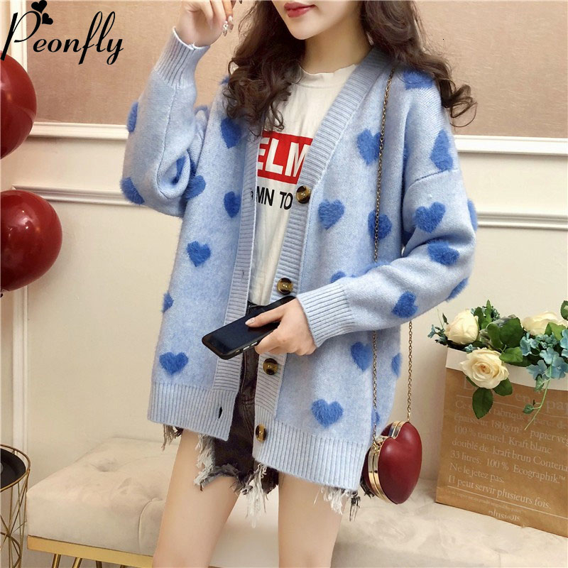 PEONFLY Faux Fur Knitted Cardigan Women 2019 Fall Winter Korean Cute Kawaii Heart Cardigan Female Pink Blue Knitted Jacket Women