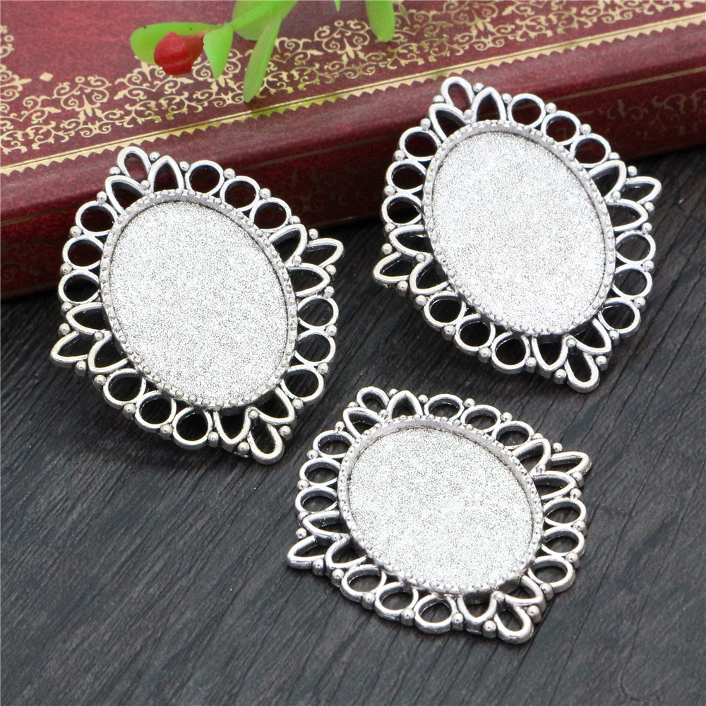 4pcs 18x25mm Inner Size Antique Silver Plated Flowers Style Cameo Cabochon Base Setting Pendant Necklace Findings  (C2-38)