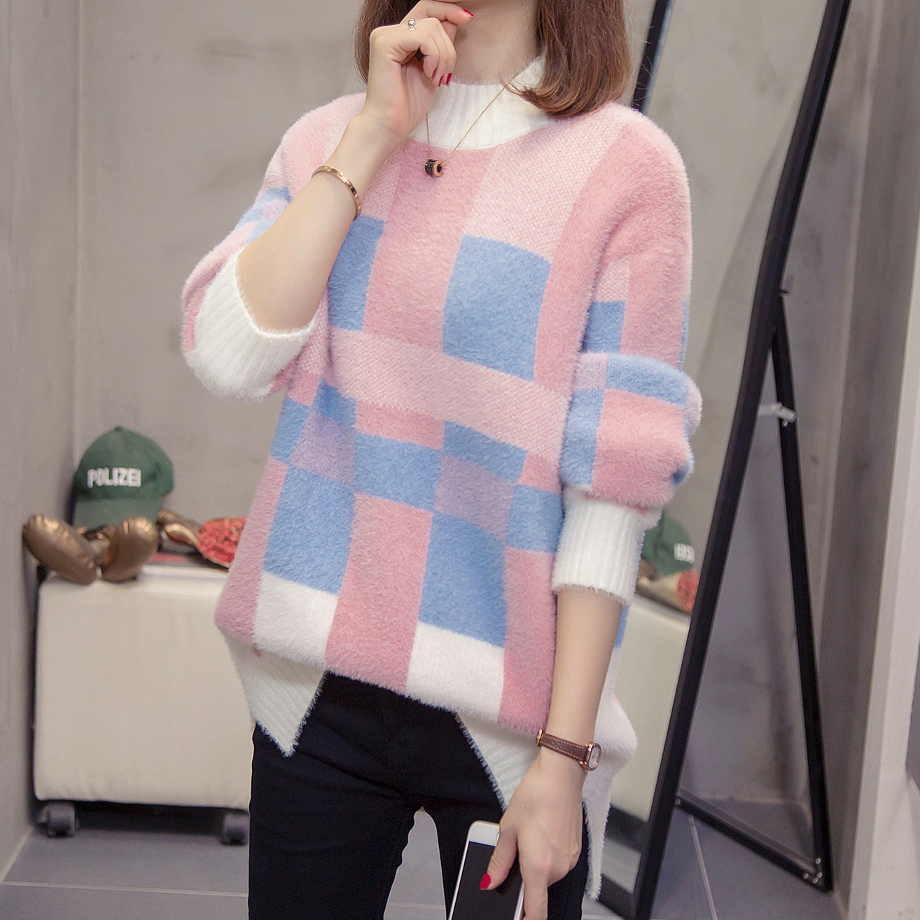 Nkandby Plus Size Cashmere Pullovers For Women Autumn Winter Stylish Loose Plaid Fuzzy Sweaters Oversize Warm Knitting Jumpers