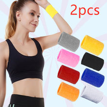 2PCS Colorful Cotton Unisex Sport Sweatband Wristband Wrist Protector Running Badminton Basketball Brace Terry Cloth Sweat Band(China)