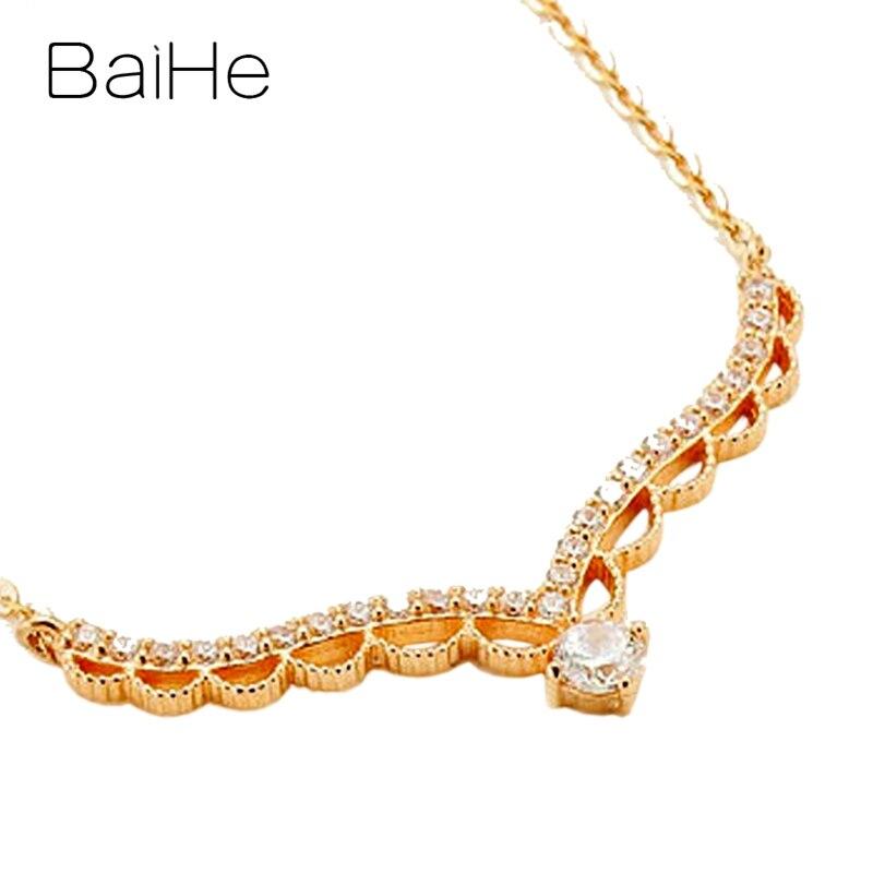 BAIHE solide 18K Rose/blanc/or jaune certifié H/SI 0.20ct + 0.15ct diamants naturels femmes bijoux fins colliers cadeaux de mariage - 2
