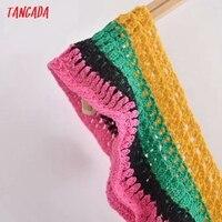 Tangada Women's Summer Dress Fashion Patchwork Crochet Dresses Ruffles Female Casual Beach Dress 3H771 4