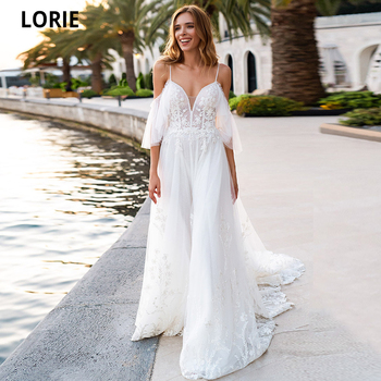 LORIE Beach Wedding Dresses V-Neck A-Line Boho Bridal Gowns White Lace Appliques Tulle Princess Backless 2021 New