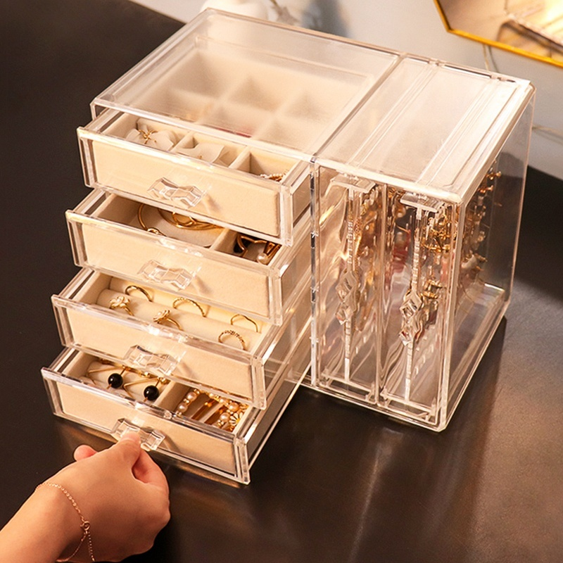 Dustproof Acrylic Jewelry Box Storage Drawers Stand Shelf For Earrings Display Rack Holder Storage Case (Jewelry Not Included)