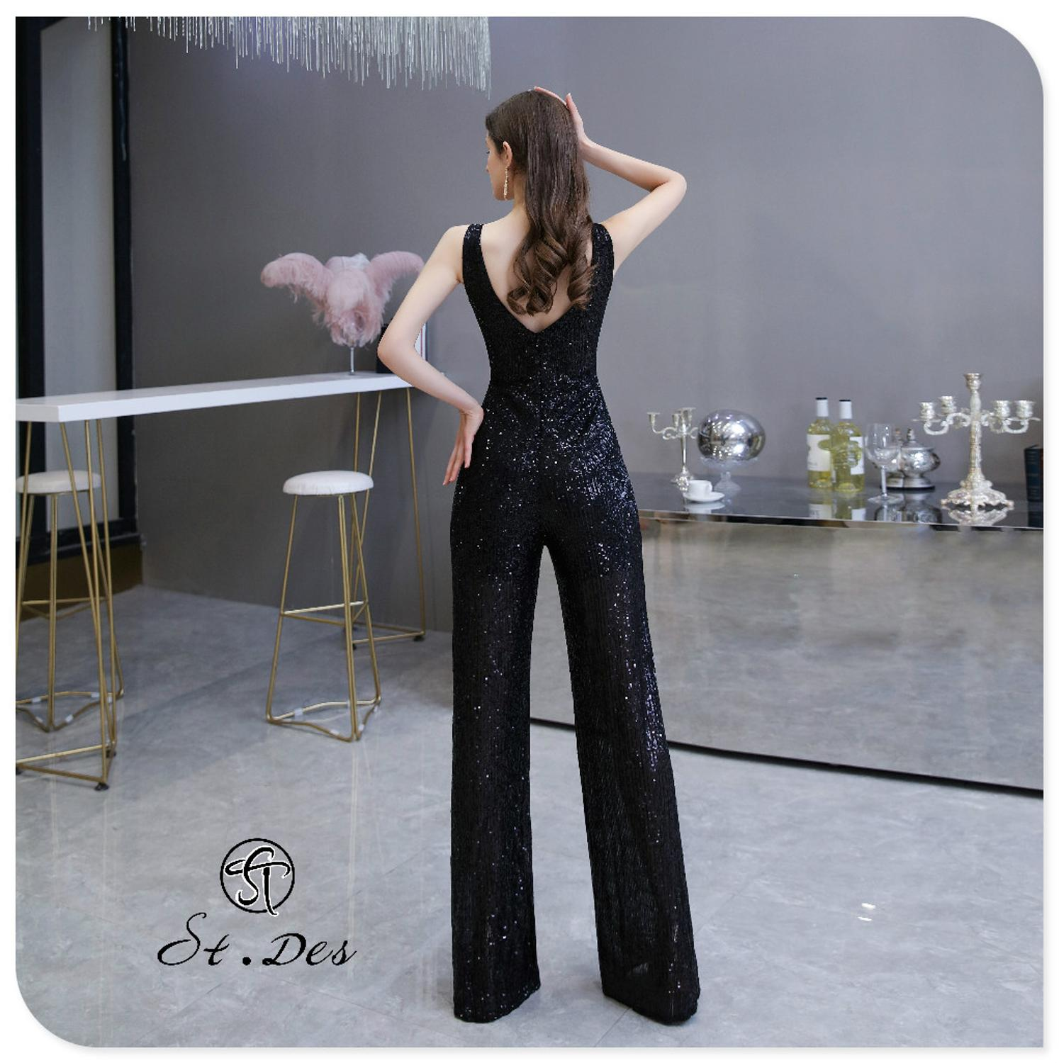 S.T.DES Evening Dress 2020 New Arrival Siamese Trousers V-Neck Sliver Black Sleeveless Floor Length Party Dress