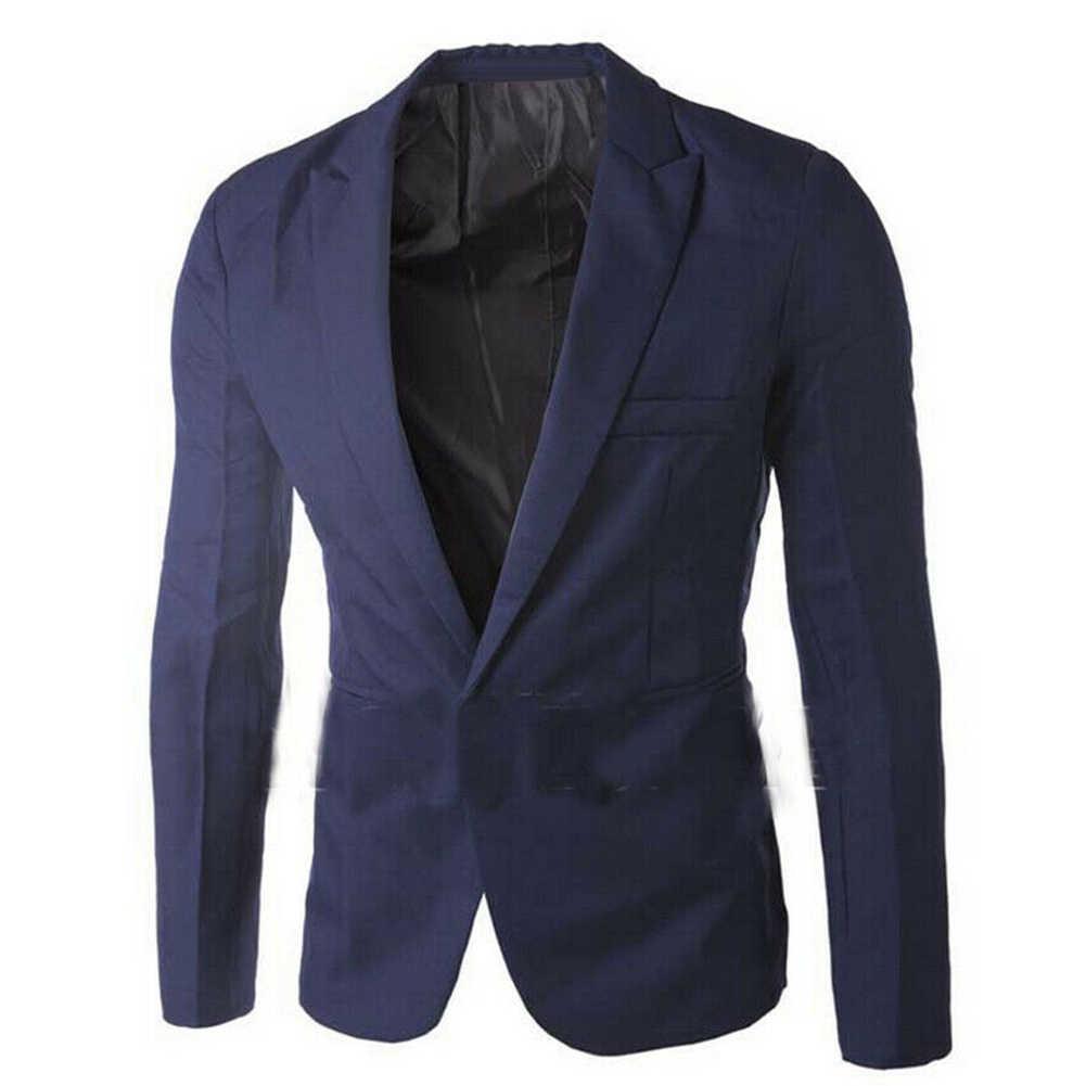 Masculino cor sólida manga comprida lapela um botão bolso blazer fino ajuste terno casaco novo chique