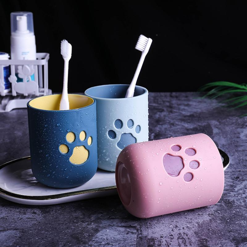 Cartoon Cat Claw Portable Washing Cup Plastic Toothbrush Holder Tooth Brush Storage Organizer Toothbrush Cup Bathroom Gadgets