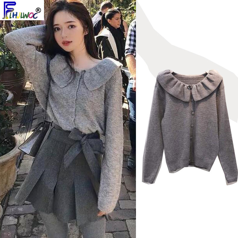 Winter Cute Knit Tops Women Long Sleeve Peter Pan Collar Knitted Sweater Cardigan Gray Pink White Button Short Coat 9027