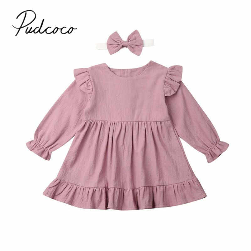 2019 Baby Spring Autumn Clothing 2Pcs Toddler Kid Baby Girl Cotton Linen Clothes Ruffle Long Sleeve Dress Tutu Casual Dress 1-5T