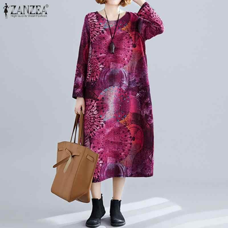 PLUS ขนาดผู้หญิง _ _ _ _ _ _ _ _ _ _ _ _ _ _ _ _ _ _ _ _ ZANZEA ผู้หญิงสบายๆเสื้อแขนยาวพิมพ์ Vestidos หลวมกระเป๋ากลางชุดลูกวัวยาวเสื้อ Robe