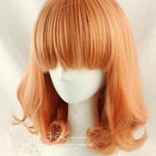 Free Shipping   HOT ! New Fashion Medium Orange Mix Curly Co