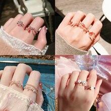 Женские регулируемые кольца mengjiqiao корейские милые с кубическим