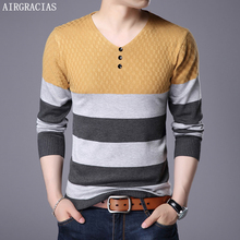 AIRGRACIAS Fashion Brand Sweater Men 2019 Autumn Winter Mens Sweaters Slim Pullovers Classic Knitwear Pull Homme