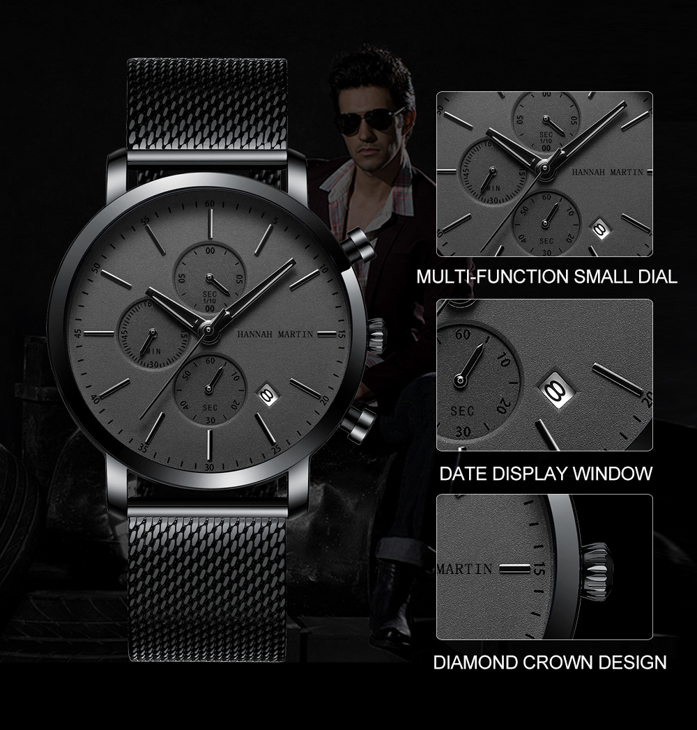 Men Watche Top Brand Fashion multifunction small dial Stainless Steel Mesh business Waterproof Wristwatches Relogio Masculino H496eddf6c9f545e2ad6b03f257ded9e4Y