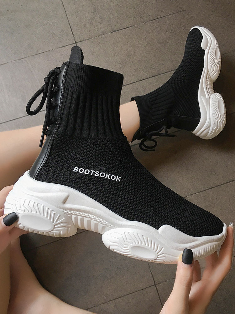 Image 3 - Ins socks shoes womens 2019 new fall student fly woven mesh face breathable muffin old dad Shoes High Top SneakersWomens Vulcanize Shoes   -