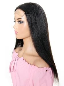 Closure Wig Human-Hair Lace Kinky Straight Brazilian 130%Density 5X5 Pre-Plucked