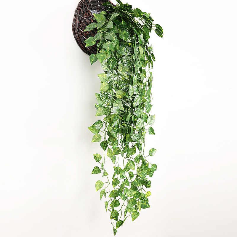 1 個人工つる緑の葉花輪植物のつるフェイク観葉ホテルレストランホーム装飾プラスチック花籐文字列