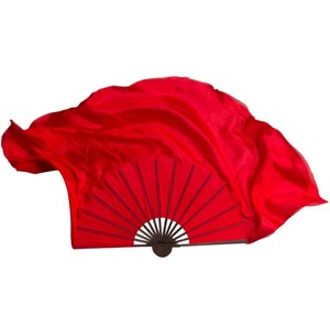 """Special Black Rib Bamboo Dance Fan Real Silk Belly Dancing Fan Veil Half Circle Extra Long Show Pros 24""""-34"""" Red(China)"""