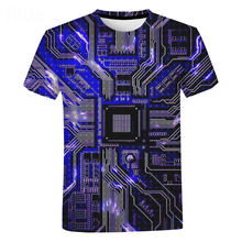 3D Printing Electronic Chip T-Shirt Unisex Casual Short Sleeve T-Shirt Street Fashion Men's Clothing Hip Hop Cool Oversized Top
