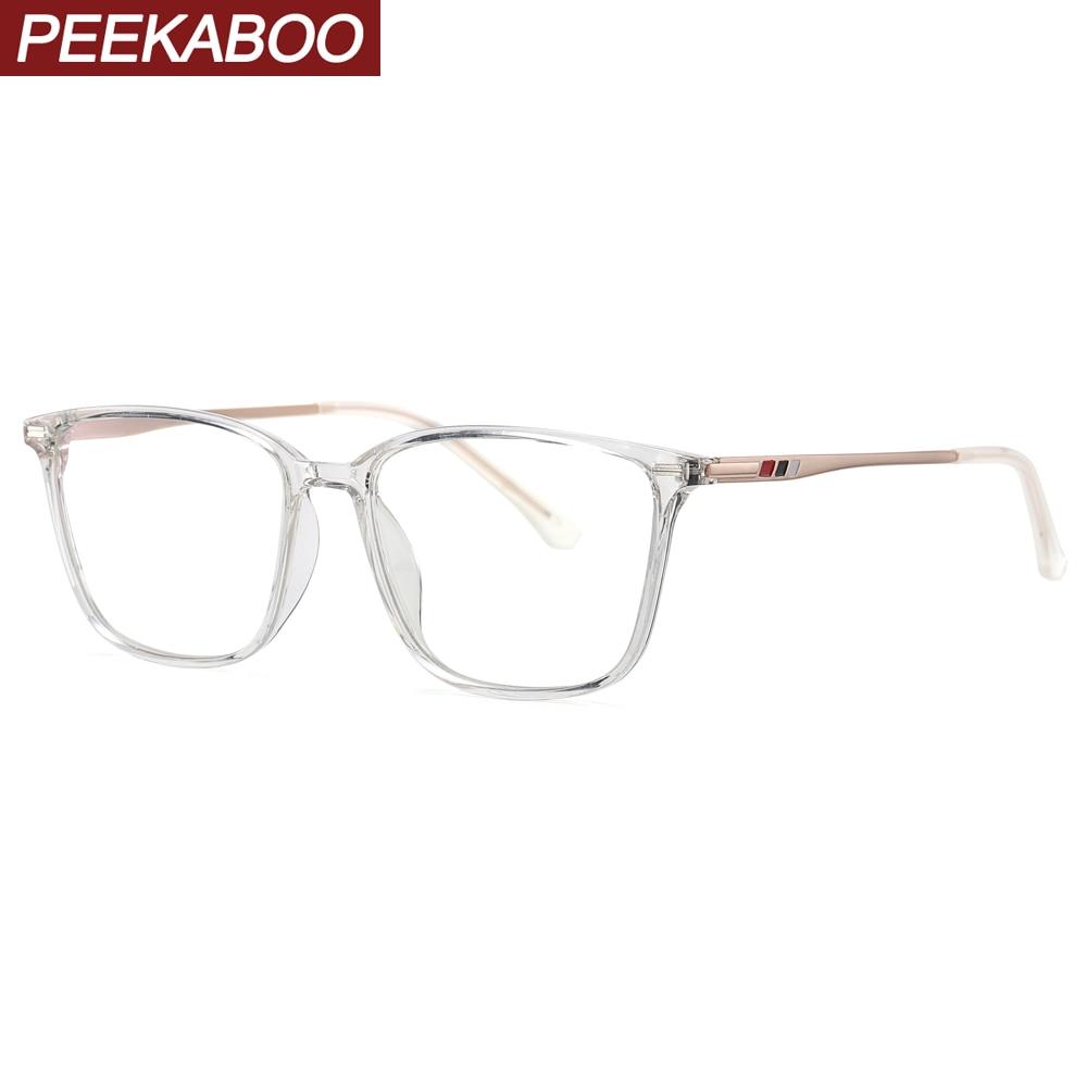 Peekaboo Tr90 Blue Light Blocking Glasses For Computer Men Square Black Transparent Half Metal Glasses Frame Prescription