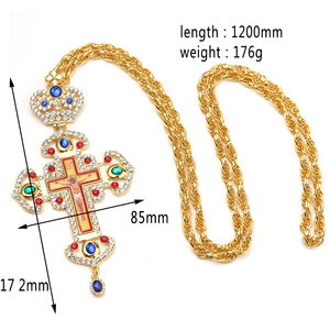 Image 2 - High quality pectoral cross orthodox Jesus crucifix pendants rhinestones chain religious necklace Jewelry pastor Prayer items