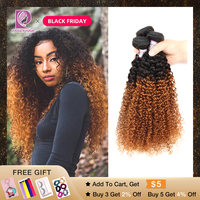 Racily Hair 1/3/4 Pcs Ombre Brazilian Hair 1B/30 Brown Kinky Curly Hair Bundles Weave Human Hair Extensions 10 26 Inch Bundles