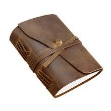 Caderno de couro genuíno artesanal diário 5x7 polegadas papel environmetal vintage caderno encadernação diário para homem e mulher