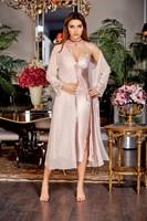 Women Powder Silk Satin Ruched Long Hex Set Suit