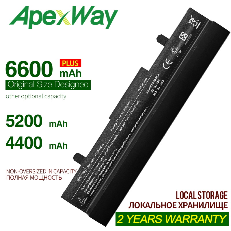 ApexWay Laptop Battery For Asus AL32-1005 AL31-1005 ML32-1005 Eee PC 1001HA 1005HR 1005P 1005PE 1001PQ 1001P 1005 1005H 1005HE