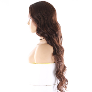 Image 2 - Medium Brown Synthetic Hair Lace Wigs For Women X TRESS 24inch Long Wavy Lace Front Wig Middle Part  Heat Resistant Fiber Hair