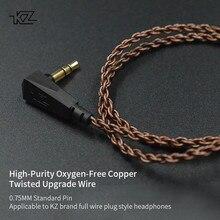 Câble dorigine KZ ZS10 ZST ZS3 câble de mise à niveau torsadé en cuivre sans oxygène de haute pureté câble KZ 2pin pour KZ Z10 ZST ZSN CCA C10 V80