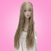 22 inches 13x6 Braided Wigs Synthetic Lace Front Wig for Black Women Full Hand made Braid Wig Cornrow Braids Lace Wigs