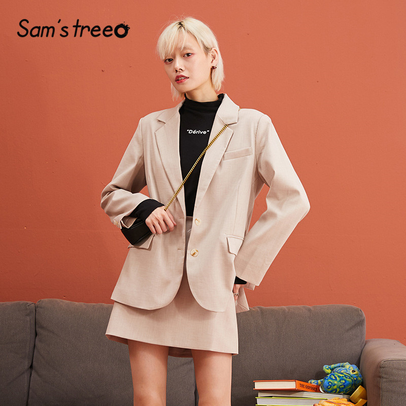 SAM'S TREE Multicolor Solid Minimalist Style Blazer Two Pieces Sets Women 2019 Winter Pure Single Breasted Casual Female Outfits