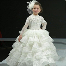 Dresses Flower-Girl Wedding Baby-Girls Pageant-Gowns Lace Long-Sleeves Birthday-Party