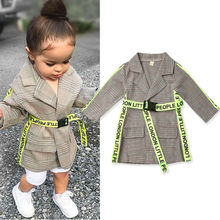 2019 NEW Fashion formal toddler kid baby girl coat long belt autumn and winter warm jacket outdoor children girl clothes cheap Emmababy COTTON Polyester Fits true to size take your normal size Heavyweight Full Outerwear Coats striped Girls Canvas