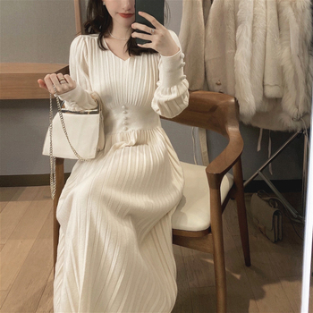 Knitted Dress Women Casual Long Sleeve Vintage Elegant Office Sweater Dress Female 2021 Winter One-piece Dress image