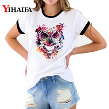 Women 3D Print T Shirts Fashion Nebula Animal T-shirt Owl Graphic Tees White Casual Couple Short Sleeve Tops Woman Clothes