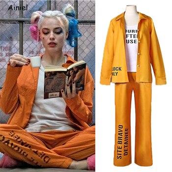 Suicide Squad Harley Quinn Outfit Disfraz Orange Prison Uniform Cosplay Birds of Prey Jacket Coat Tops Pants Halloween Costumes недорого