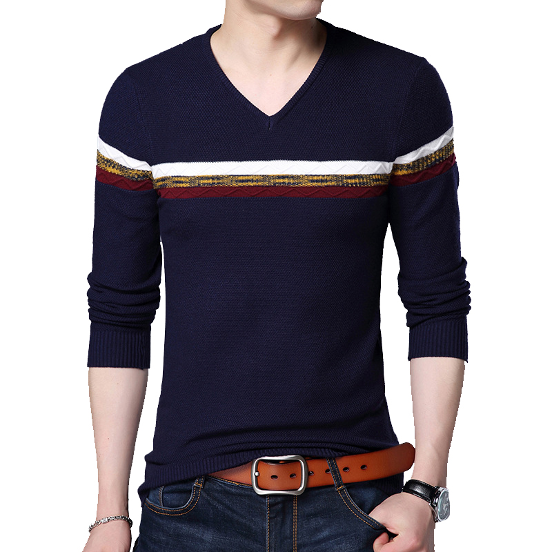 BROWON Autumn Slim Sweaters Men Long Sleeve Slim Knitted Slim Sweater High Quality Pullovers Homme Warm Coat 3XL Newest