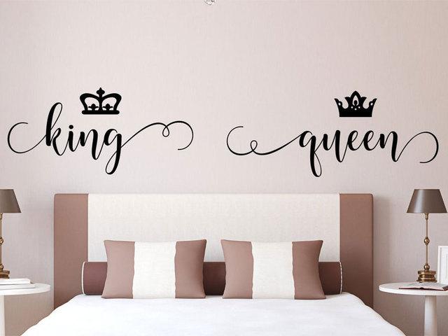 Pegatina de vinilo romántica para decoración de dormitorio, pegatinas de cabecera King And Queen, decoración de corona para habitación, papel tapiz de murales extraíble 4462